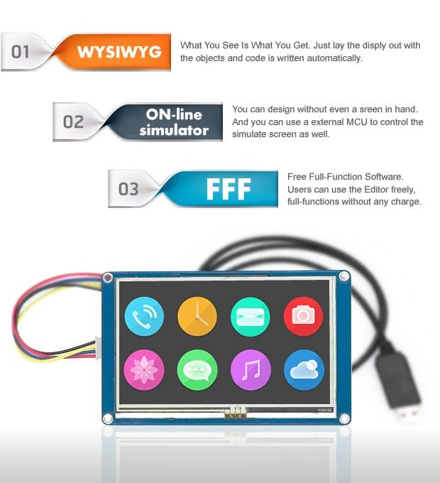 "Nextion NX4827T043 - 4.3"" TFT LCD ManMachine Interface HMI Kernel Intelligent Touch Display"