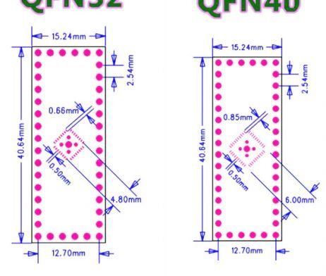 QFN32 QFN40 SMD to DIP Adapter PCB Board-2Pcs.
