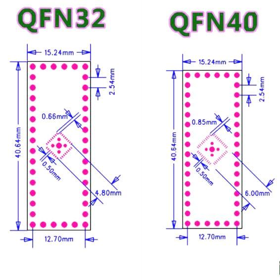QFN32 QFN40 SMD to DIP Adapter PCB Board-2Pcs.