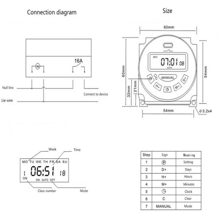 Microcomputer LCD Digital Display Programmable Electronic Timer Switch