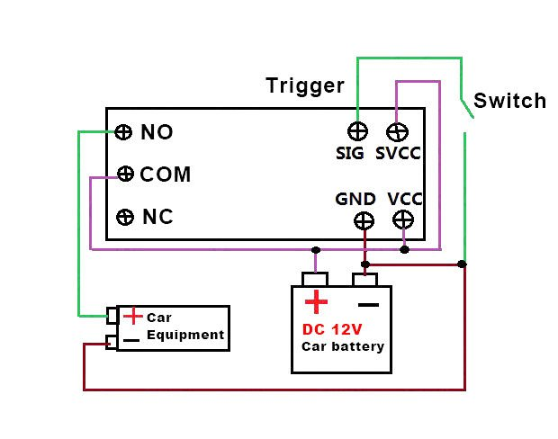 circuit Diagram: DC 12V Switch Delay-Relay Module with Adjustable Delay Time 0~25 Second