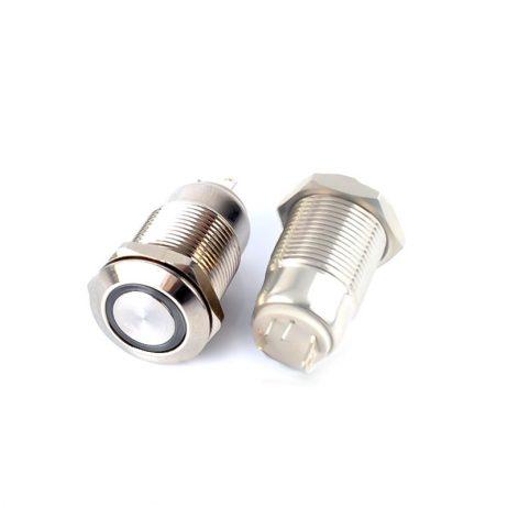 12mm 12V Ring Light Self-Lock Non-Momentary Metal Switch-