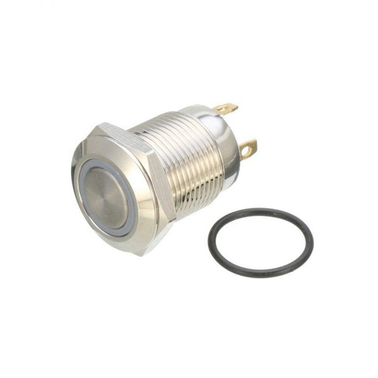 12mm 12V Ring Light Self-Lock Non-Momentary Metal Push-button