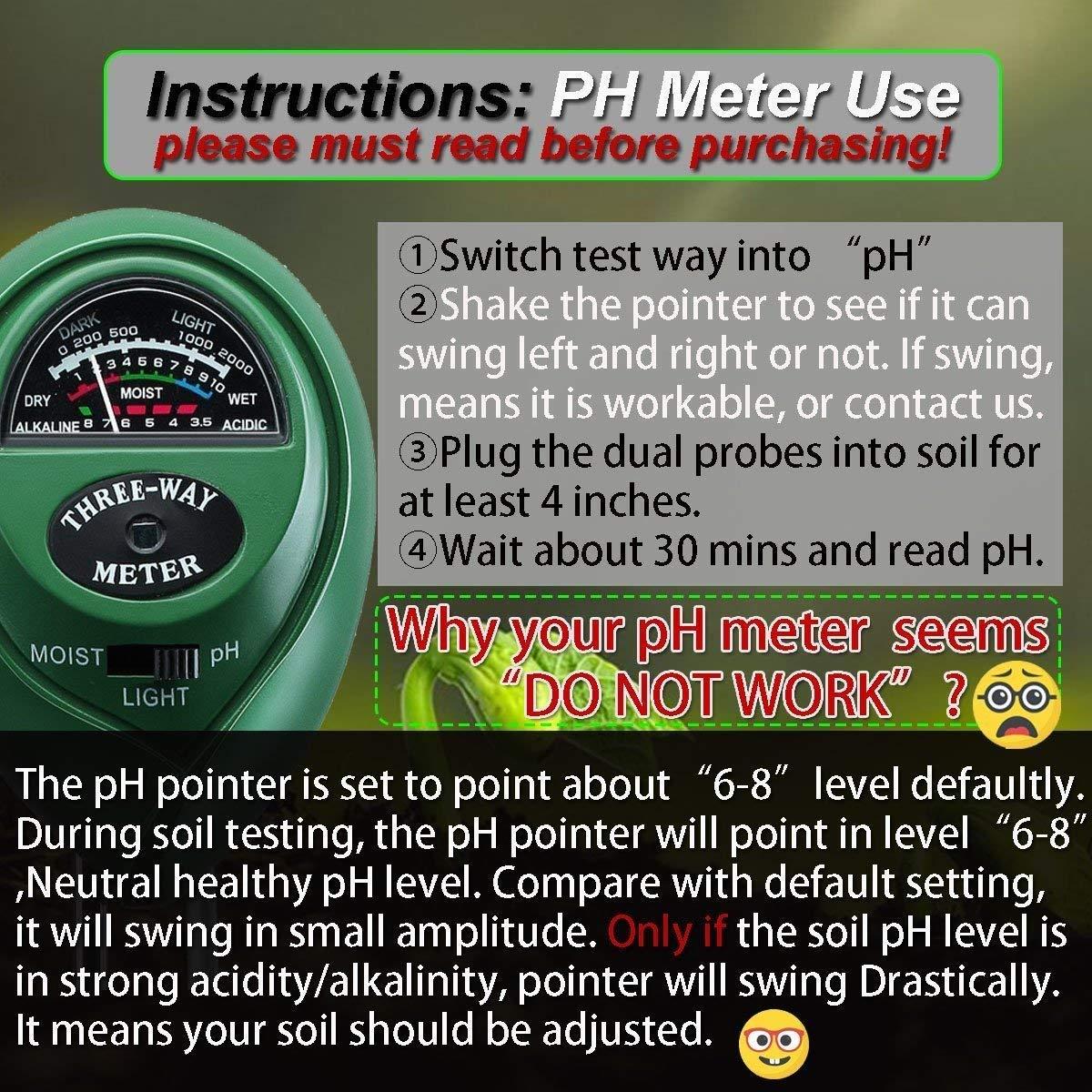 Three-Way Soil Meter For Moisture, Light Intensity and pH Testing Meter (1)
