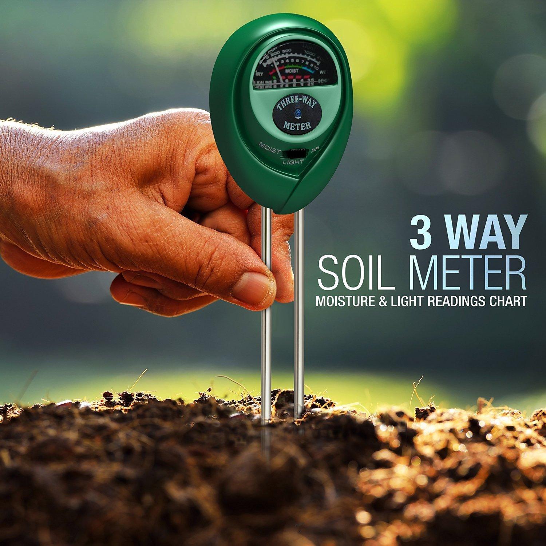 Three Way Soil Meter For Moisture Light Intensity And Ph