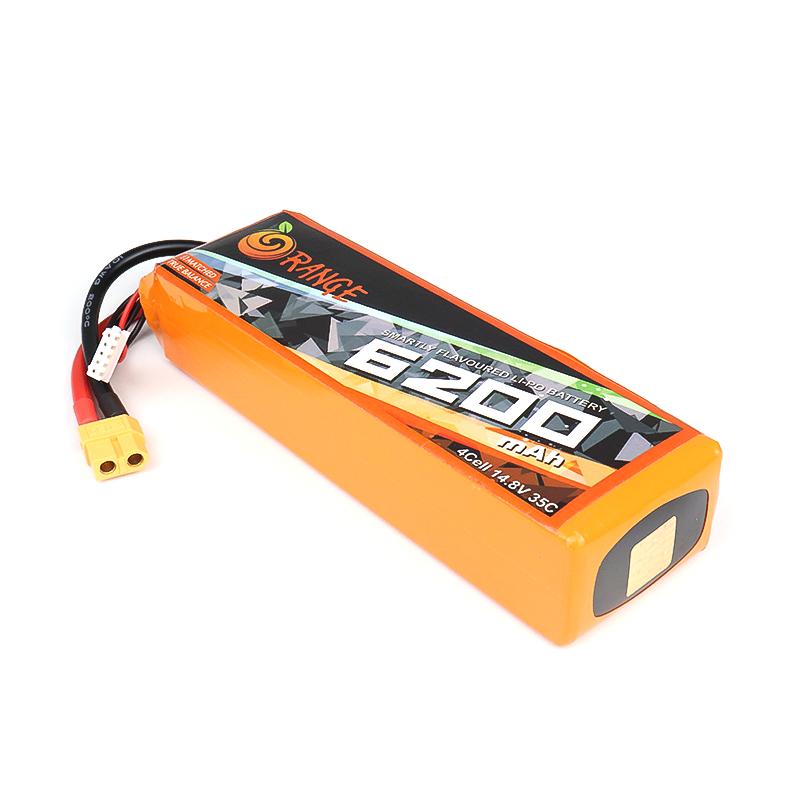 Orange 6200 mAh 4 Cell 35C/70C (14.8V) Lithium Polymer Battery Pack (Lipo)
