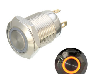 12mm 12V Ring Light Momentary Metal Pushbutton Switch-Yellow Light