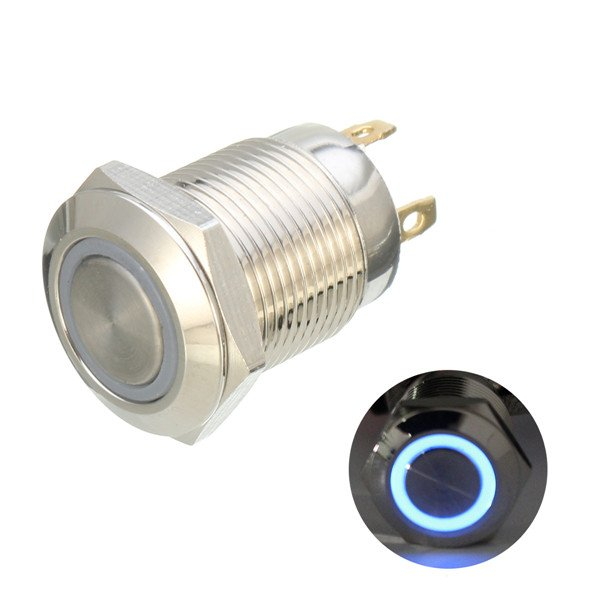12mm 12V Ring Light Momentary Metal Pushbutton Switch-Blue Light