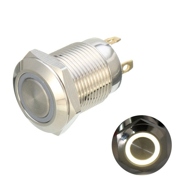 12mm 12V Ring Light Momentary Metal Pushbutton Switch-White Light