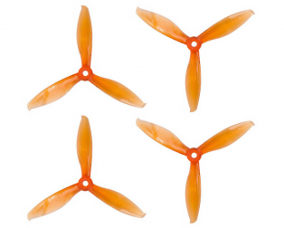 Orange HD Propellers 5149(5.1X4.9) Tri Blade Flash Propellers 2CW+2CCW 2 Pair-Tranparent Orange