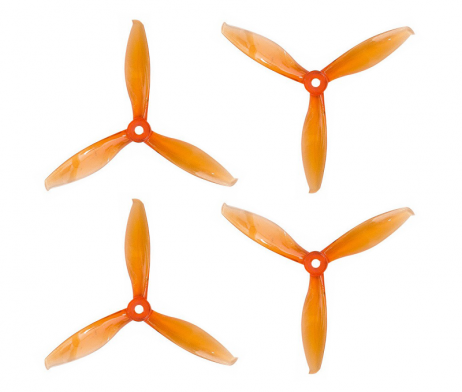 Orange HD Propellers 5149(51X4.9) Tri Blade Flash Propellers 2CW+2CCW 2 Pair-Tranparent Orange