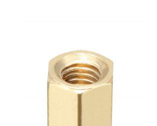 M3 X 10mm Female-Female Brass Hex Threaded Pillar Standoff Spacer-6 Pcs.