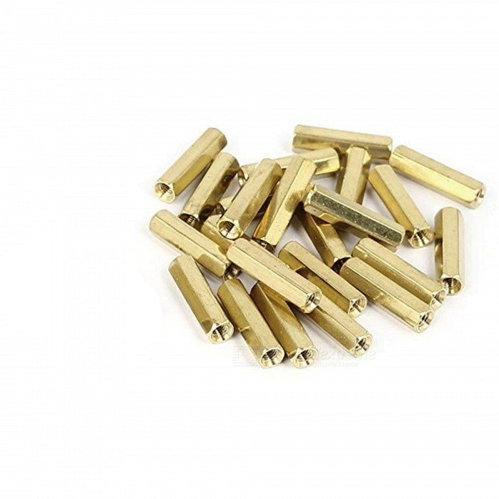 M3 X 20mm Female to Female Brass Hex Threaded Pillar Standoff Spacer-6 Pcs.