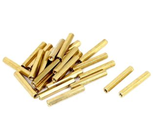 M3 X 30mm Female to Female Brass Hex Threaded Pillar Standoff Spacer- 6 Pcs.
