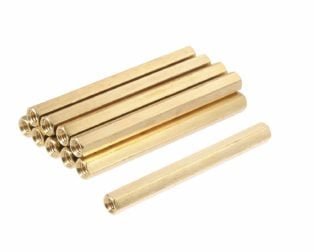 M3 X 40mm Female to Female Brass Hex Threaded Pillar Standoff Spacer- 6 Pcs.
