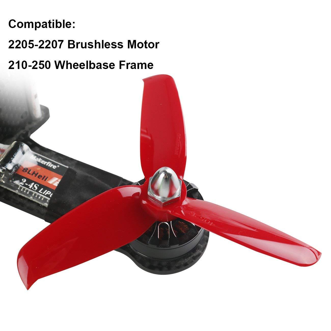 Orange HD 4052(40X5.2) Tri Blade Flash Propellers 2CW+2CCW 2 Pair-Ferrari Red