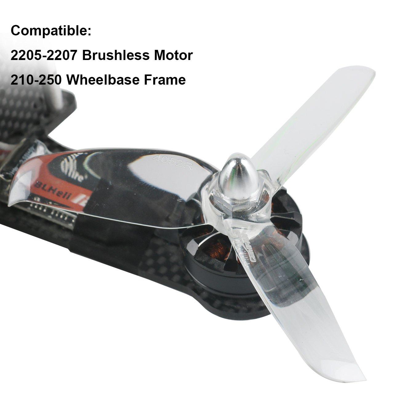 Orange HD 4052(40X5.2) Tri Blade Flash Propellers 2CW+2CCW 2 Pair-Transparent