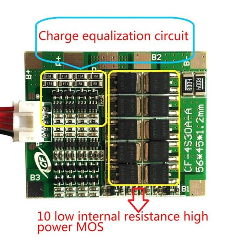 4 Series 30A 18650 Lithium Battery Protection Board 14.8V 16V with Cable