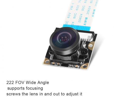 5MP OV5647 Sensor Adjustable Wide Angle Fish-eye Lens Night Vision Camera for Raspberry Pi 3 B+