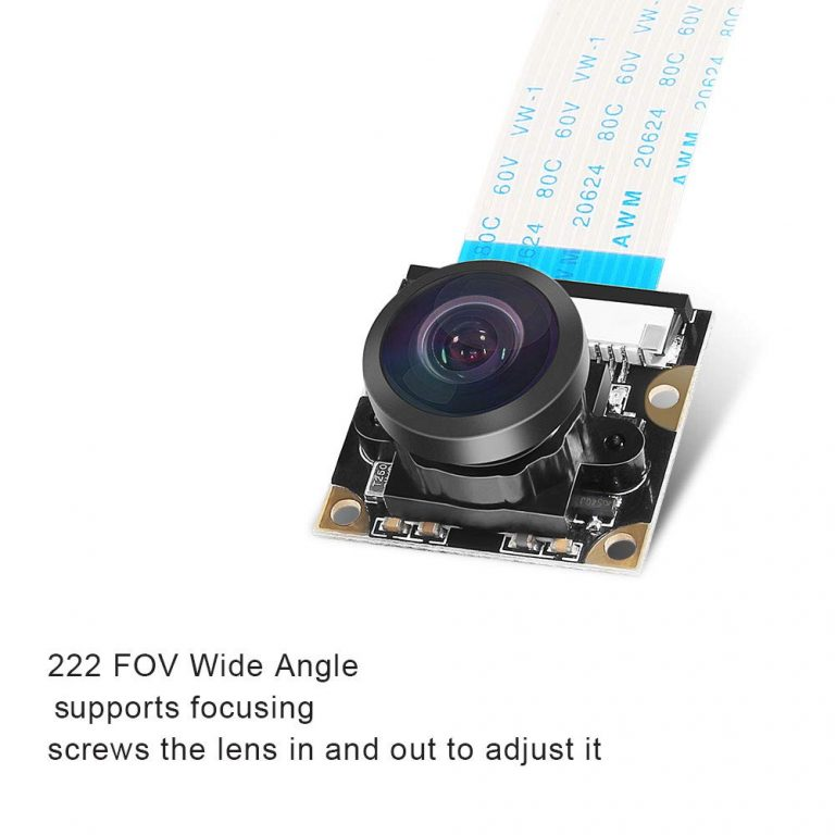 5MP OV5647 Sensor Adjustable Wide Angle Fish-eye Lens Night Vision Camera for Raspberry Pi 3 B+