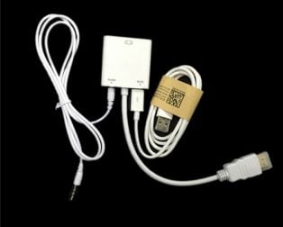HDMI Male to VGA Female Adapter with 3.5mm AUX and USB to MicroUSB Power Cables