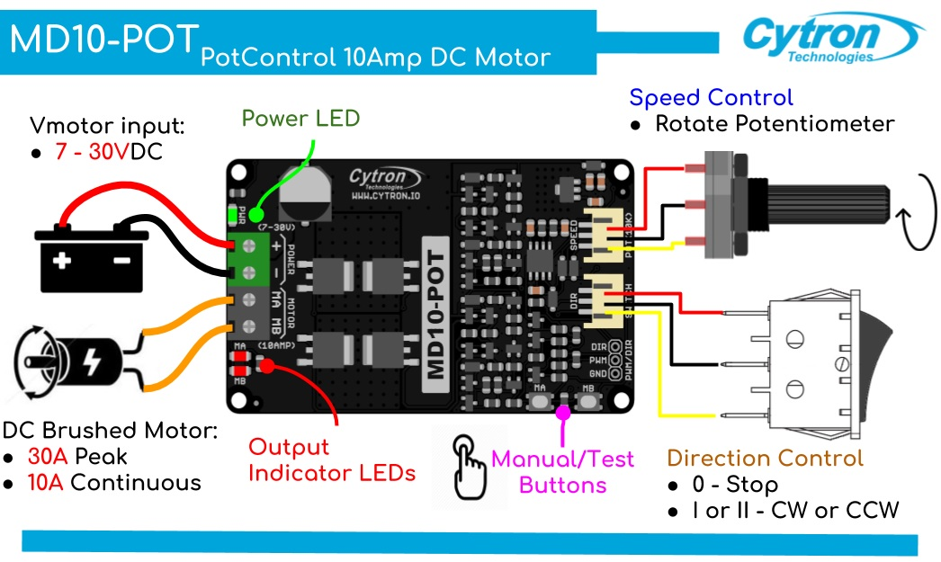 Cytron 10 A Switch Control Potentiometer DC Motor Driver (MD10POT) (2)