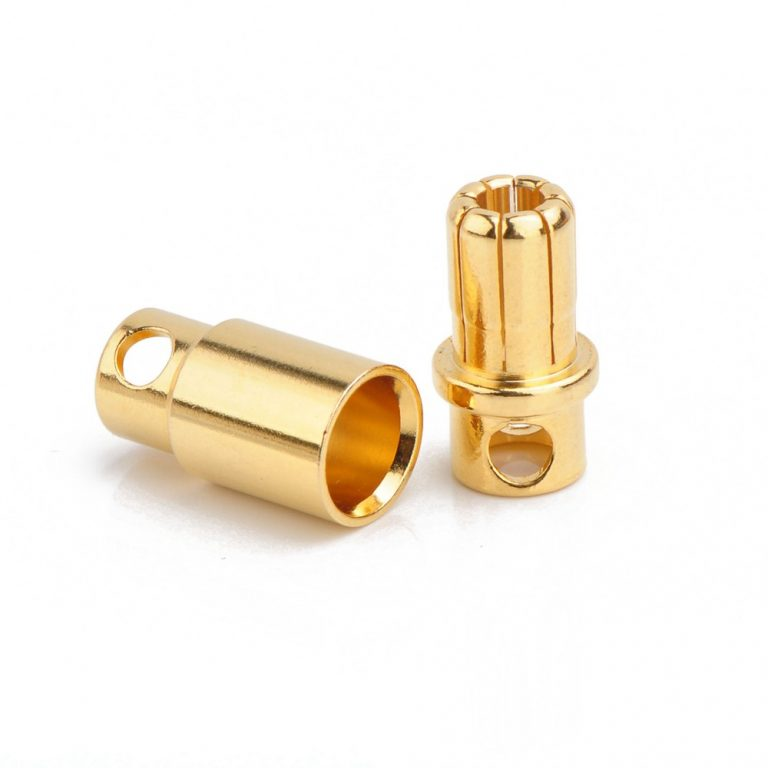 8mm Gold Plated Bullet Connector Male-Female Pair