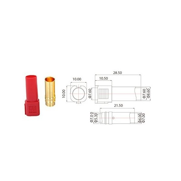 XT150 Gold Plated Female Connector-1Pcs.