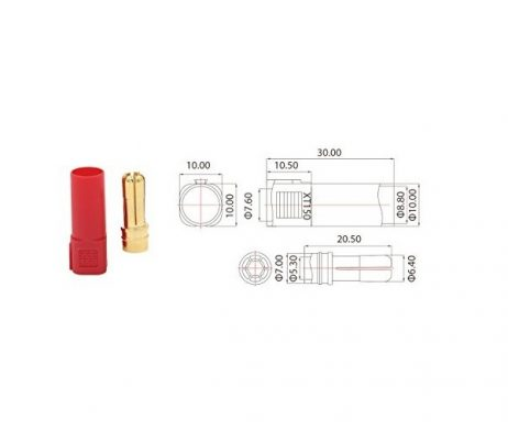 XT150 Gold Plated Male Connector