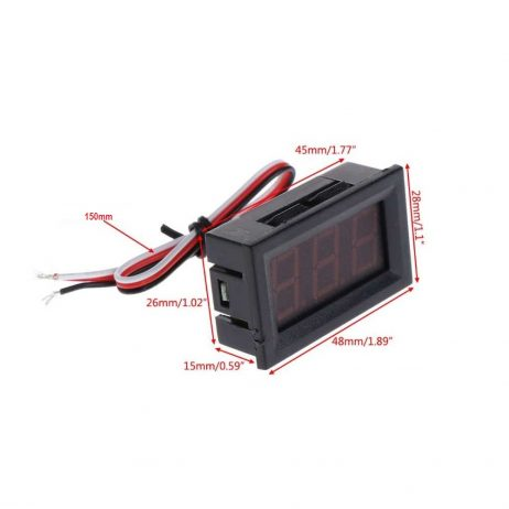 0.56inch 0-100V Three Wire LED Display Digital DC Voltmeter-RED