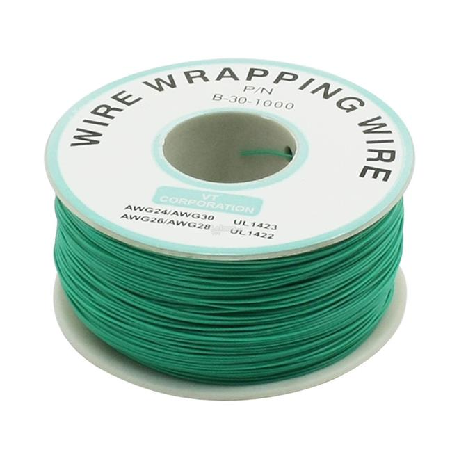 230m PN B-30-1000 Insulated PVC Coated 30AWG Wire Wrapping Wire-GREEN