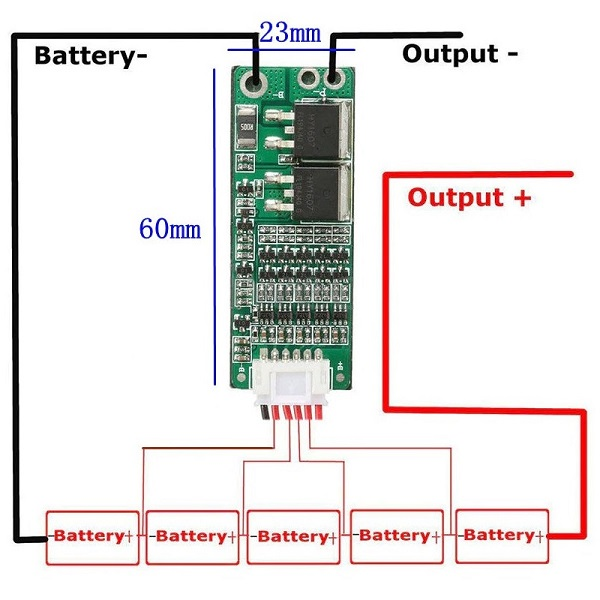 Connection Diagram of 5S 15A 18650 Li-ion Lithium Battery BMS Charger Protection Board for 18V 21V Battery