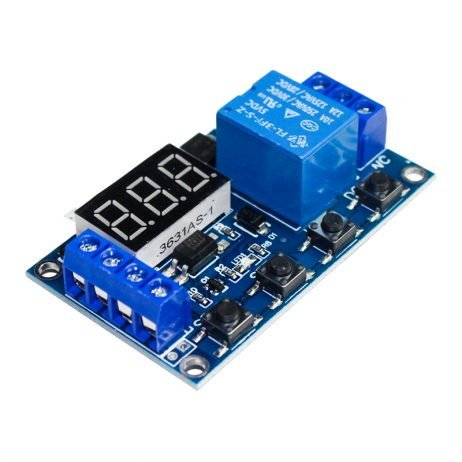 6-30V 1-Channel Power Relay Module with Adjustable Timing Cycle