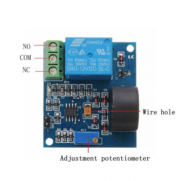 5A 12V Overcurrent Protection Sensor Module AC Current Detection Sensor