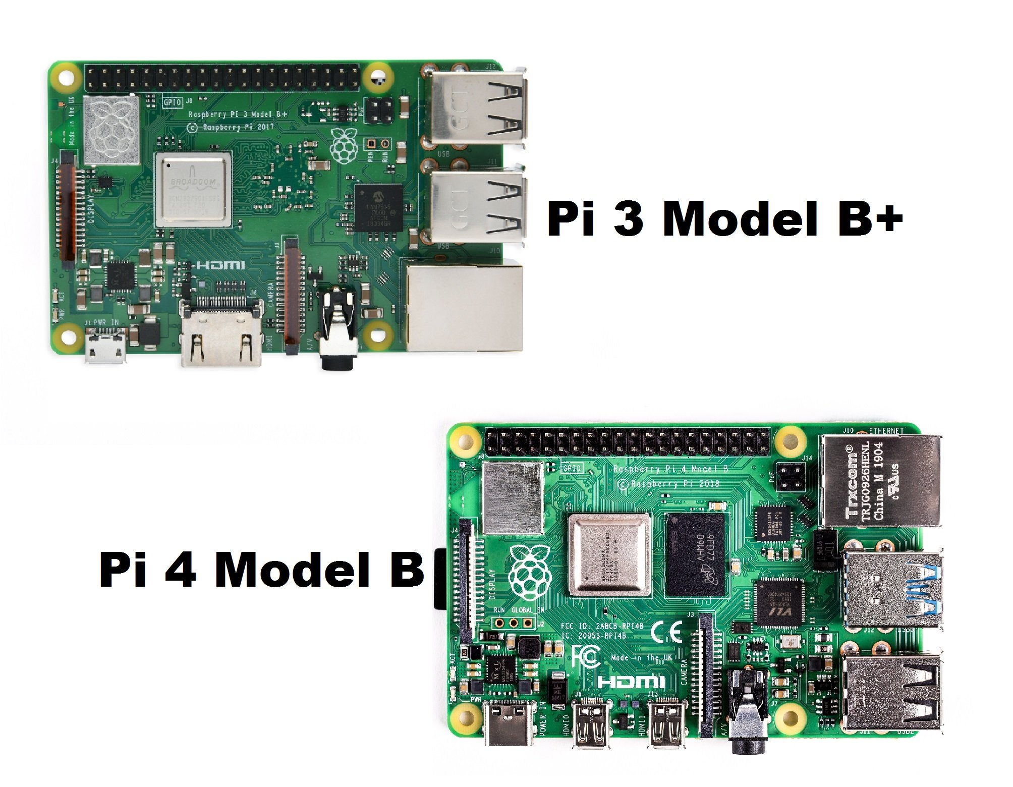 (Robu.in)Raspberry Pi 3 Model B+ Vs Model 4B TOPVIEW
