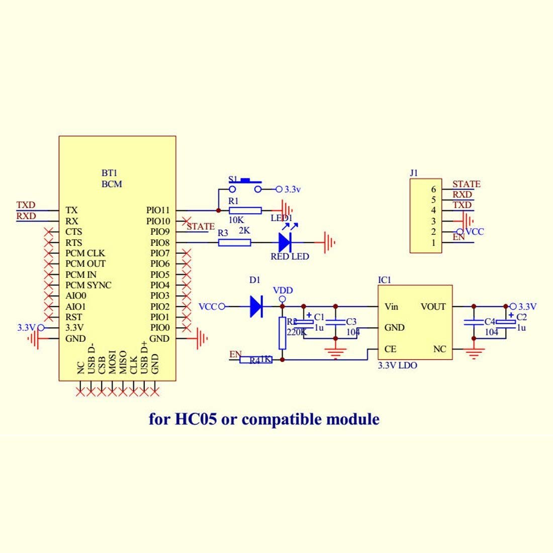 HC-05 6 Pin Wireless Serial Bluetooth Module