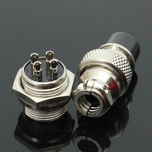 GX-16 4-Pin Metal Aviation Plug Male and Female Panel Connector