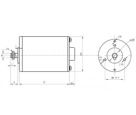 Dimensional Drawing - MY6812 150W 24V 2750RPM DC Motor for E-bike Bicycle - ROBU