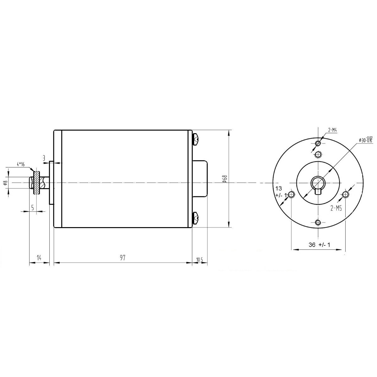 Dimensional Drawing - MY6812 150W 24V 2750RPM DC Motor for E-bike Bicycle - ROBU