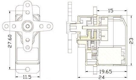 Dimensions EMAX ES9251 II Plastic Micro Digital Servo 2.5gm for RC Models - ROBU