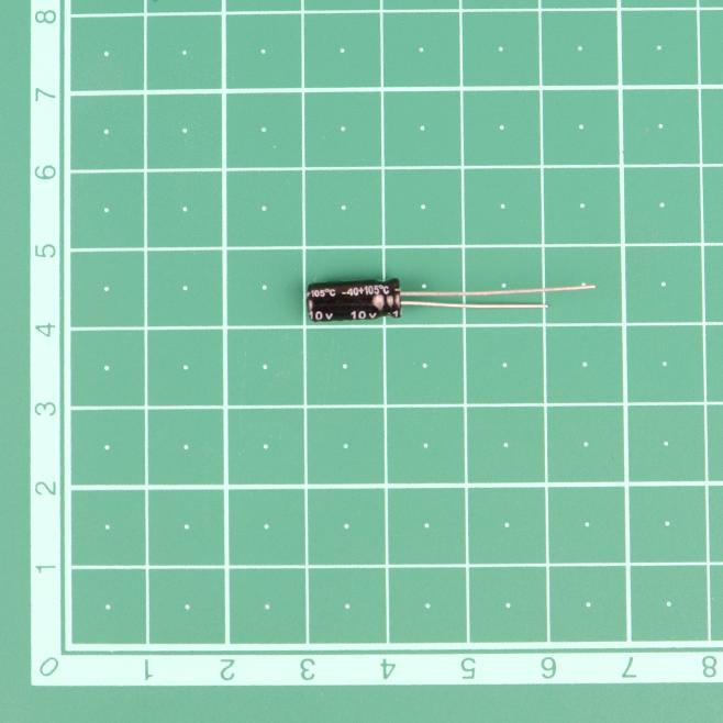 220 uF 10V Through Hole Electrolytic Capacitor