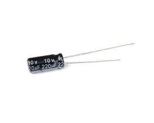 220 uF 10V Through Hole Electrolytic Capacitor
