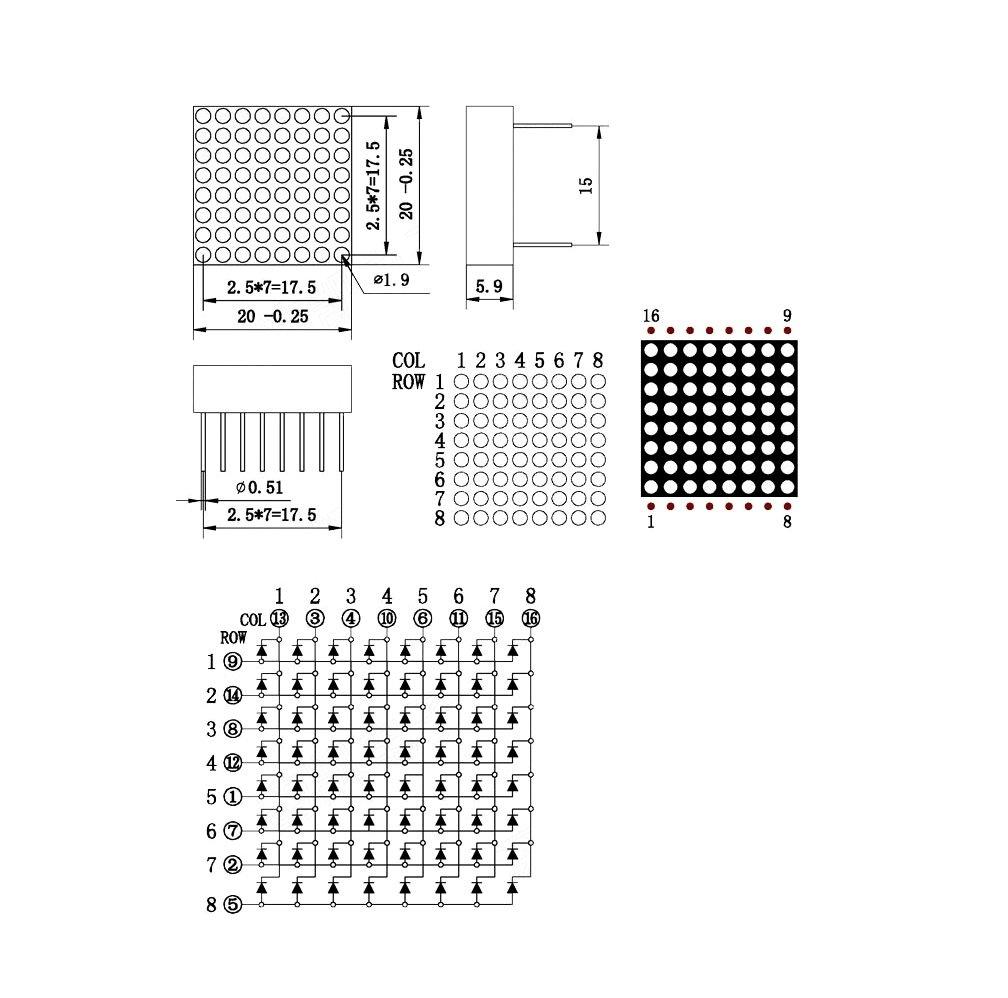 788BS 8x8 1.9mm Red LED Dot Matrix Display 16pin CA