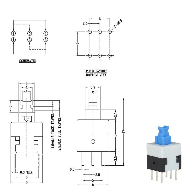 7x7mm 6 Pin DPDT Self-Lock lock Push Switch-10Pcs.