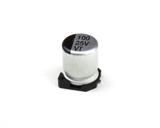 100 uF 25V Surface Mount Electrolytic Capacitor (Pack of 20)