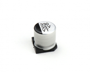 330 uF 35V Surface Mount Electrolytic Capacitor (Pack of 10)
