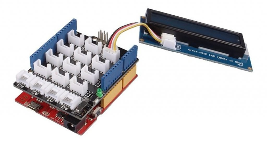 Grove - 16 x 2 LCD (White on Blue) v2.0 with Seeeduino