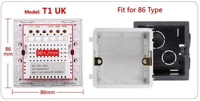 Sonoff T1 UK 2 Channels WiFi+RF+Touch Smart Switch