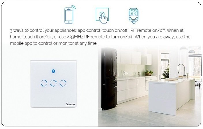 Sonoff T1 UK 2 Channels WiFi+RF+Touch Smart Switch