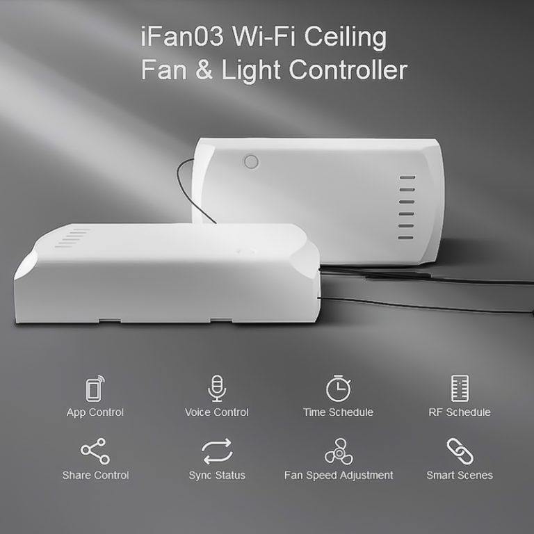 Sonoff IFan03 2.4G Remote Control Ceiling Fan Light Switch Speed Drive Support Tmall Wizard/Google Home/Alexa Voice Control.